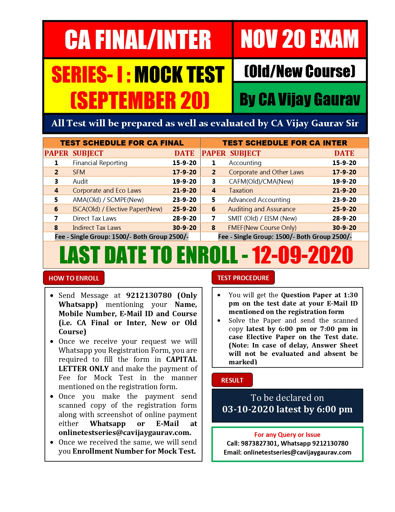 2. Mock Test Series I (CA Final and Inter) Nov 20 Exam